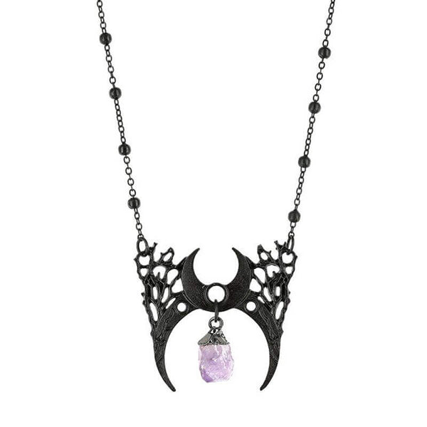 Branched Crescent Crystal Necklace - Black