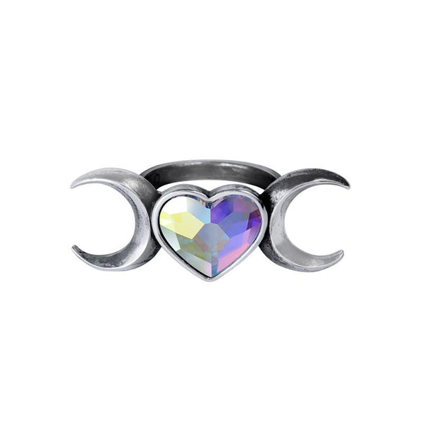 Moon Heart Goddess Ring