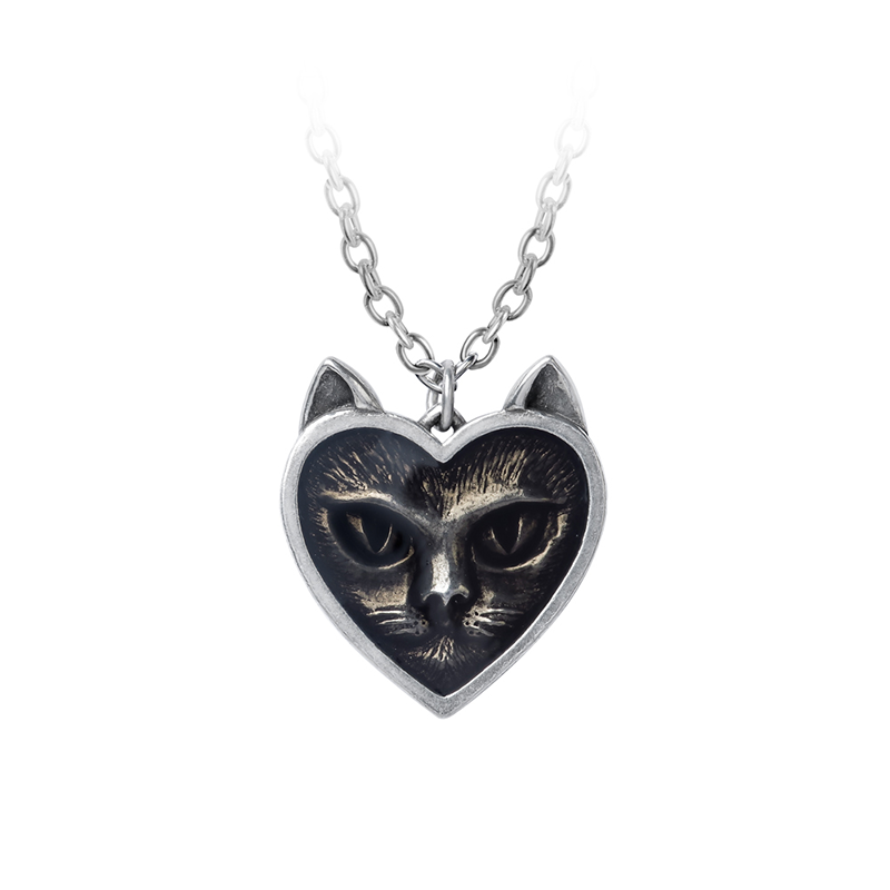 Gothic Love Cat Pendant