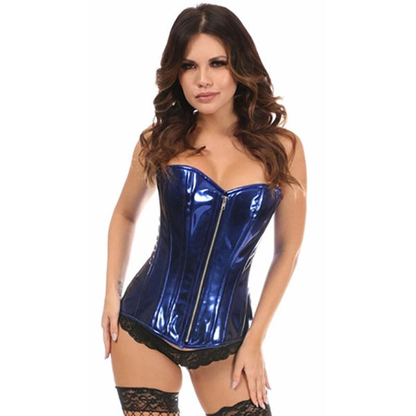 Metallic Overbust Front Zipped Corset - Blue