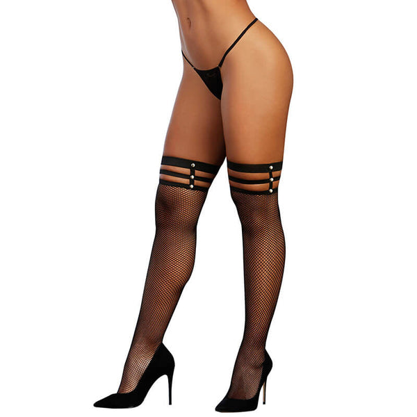 Triple Threat Strappy Fishnet Thigh Highs
