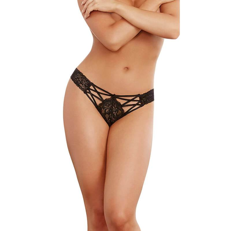 Straps and Lace Panty - Black