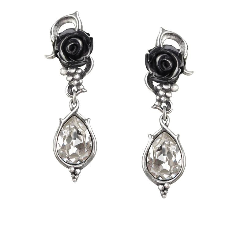 Drops of Pewter Rose Earrings
