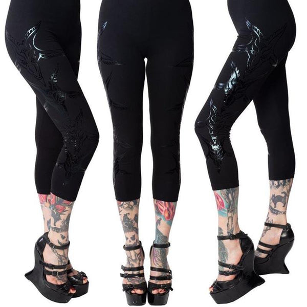 Baphomat Black Foil Capri Leggings