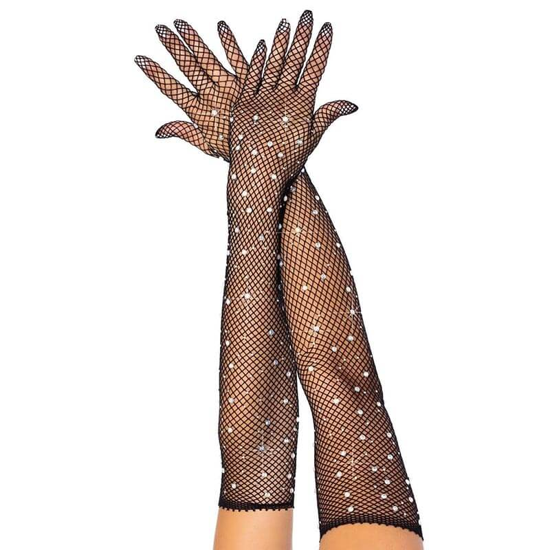 Rhinestone Fishnet Opera Gloves
