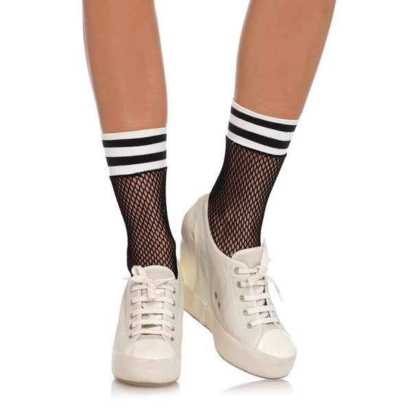 Striped Fishnet Ankle High Pantyhose