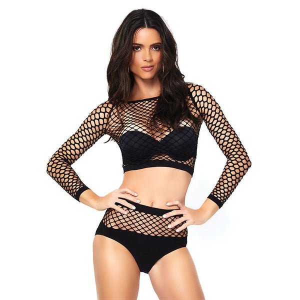 Mesh Long Sleeve Crop Top & Bottoms Set