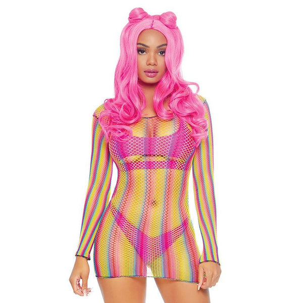 Rainbow Pride Fishnet Mini Dress