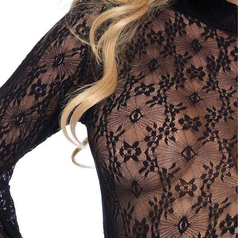 Lace Bell Sleeve Bodysuit - Black