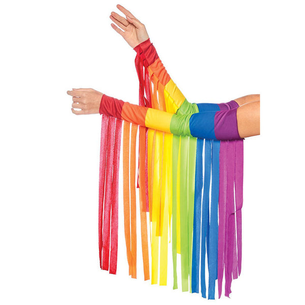 Rainbow Pride Fringe Arm Warmers