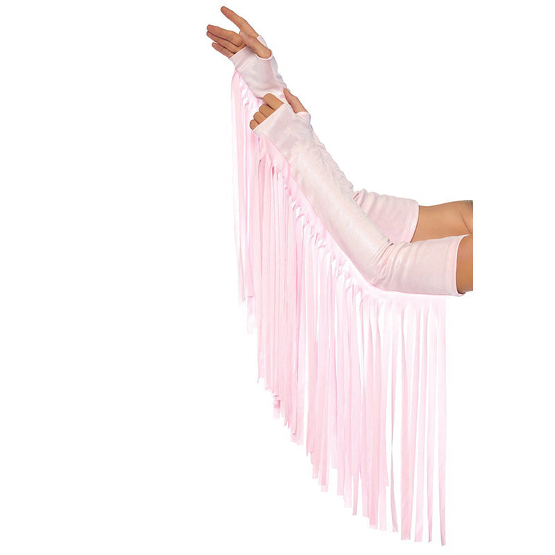 Pink Fringe Arm-Warmers/Gloves