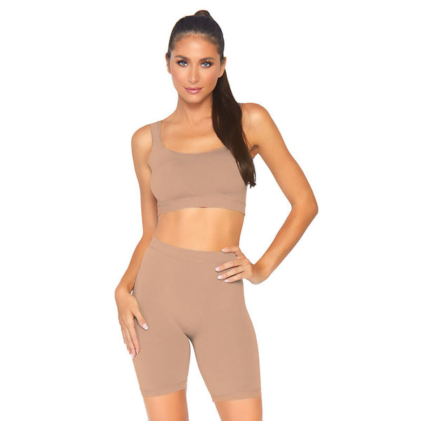 Spandex 2 Piece Bodysuit- Med Tan