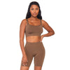 Spandex 2 Piece Bodysuit- Tan