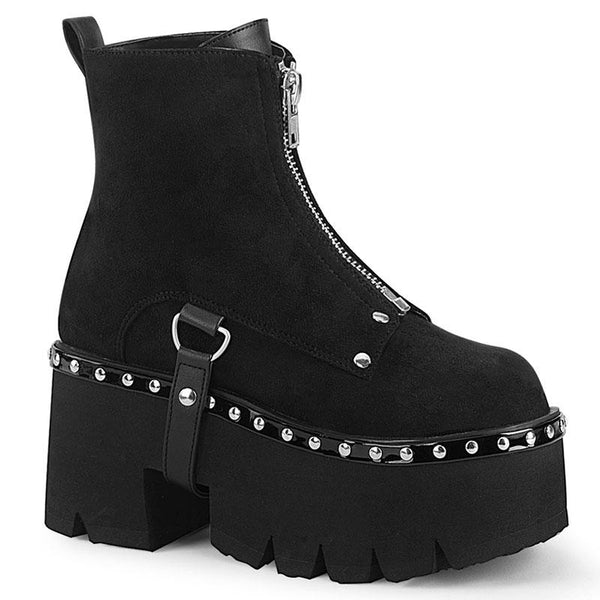 Studded Zip Platform Ankle Boots - Suede