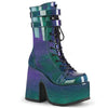 Dark Diva MId-Calf Iridescent Patent Platforms - Green/Purple