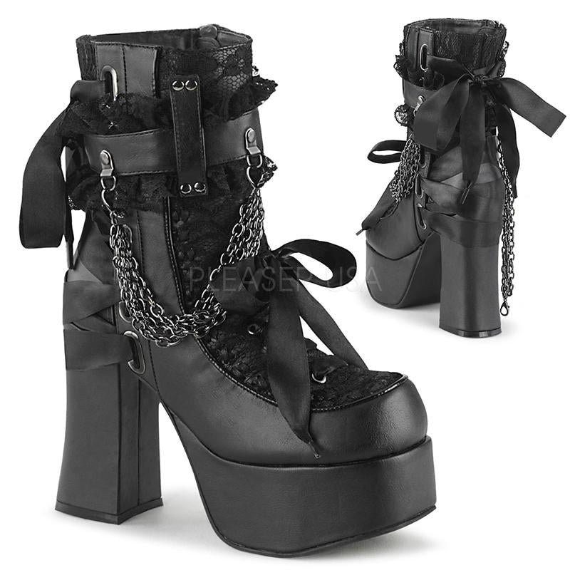 Bounded Lace Ankle Boots - Black