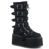 Buckle-up Goth Queen Stomper Boots - Black Velvet