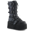 Buckle-up Goth Queen Stomper Boots - Black