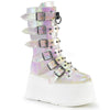 Buckle-up Goth Queen Stomper Boots - Iridescent Pearl