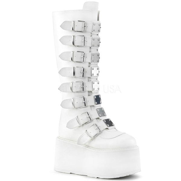 Lace Me Up Platform Boots - White