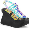 Criss-Cross Wedge Platform Sandals - Holographic