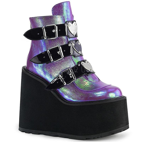 Disco Heart Ankle Stompers - Holographic Purple