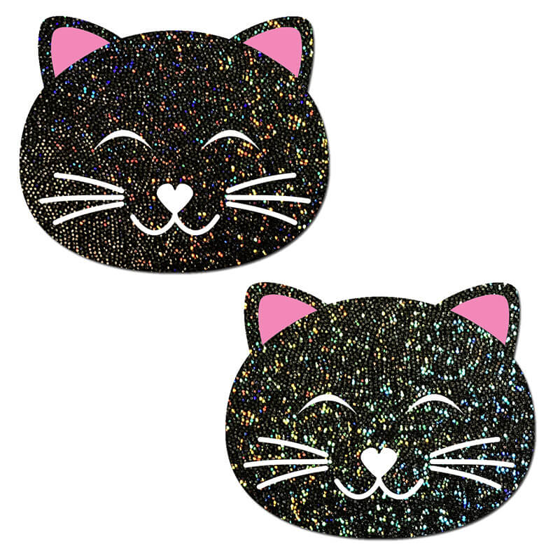 Happy Kitty Black Glitter Pasties