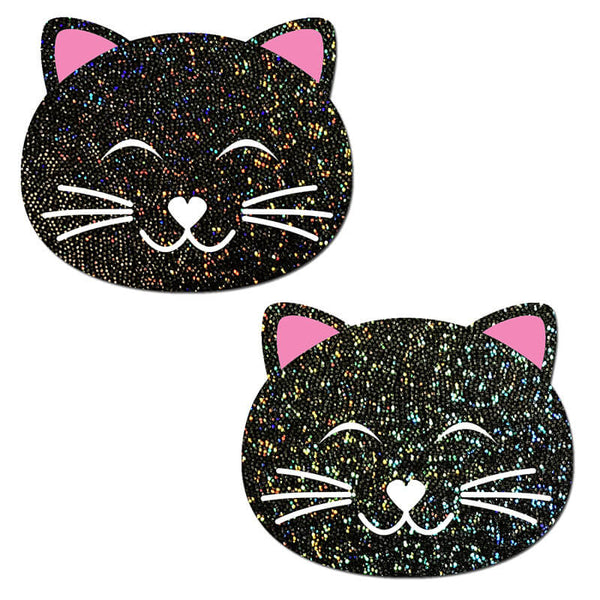 Happy Kitty Black Glitter Nipple Pasties