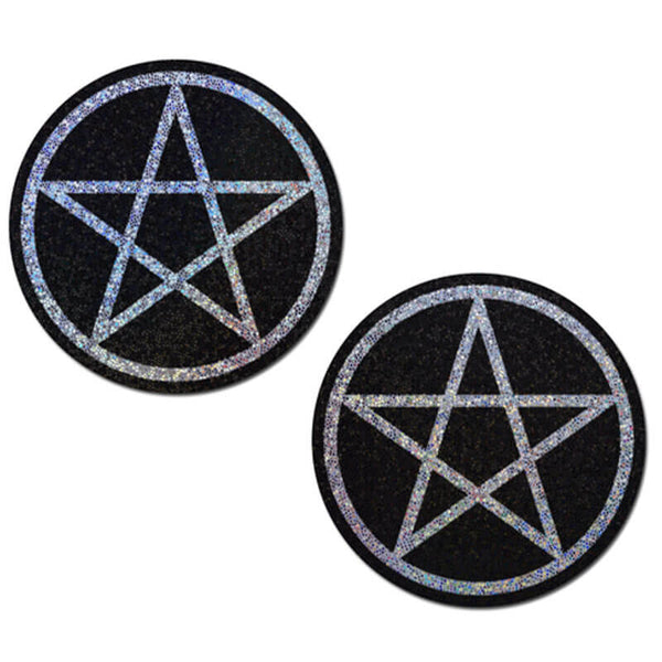 Glittery Black Pentagram Nipple Pasties