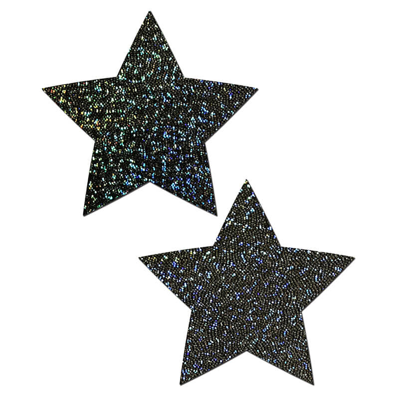 Glittery Star Nipple Pasties - Black