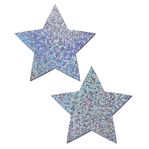 Glittery Star Nipple Pasties - Silver