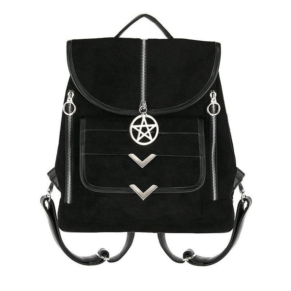 Zipped Pentagram Suede Backpack