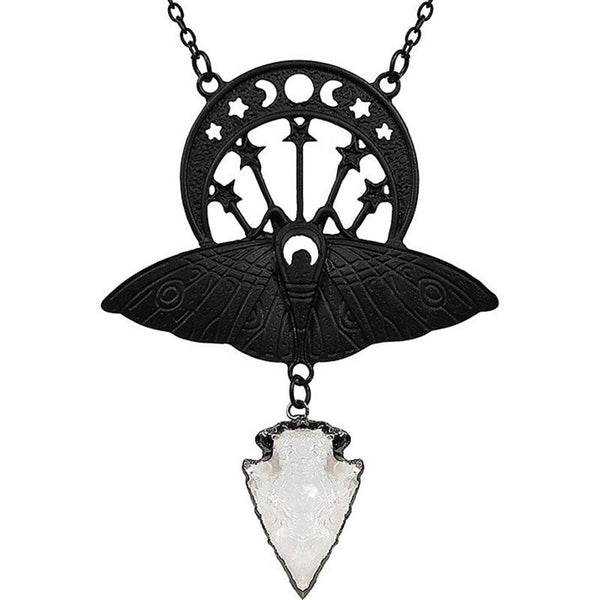 Moth Crystal Moon Necklace - Black