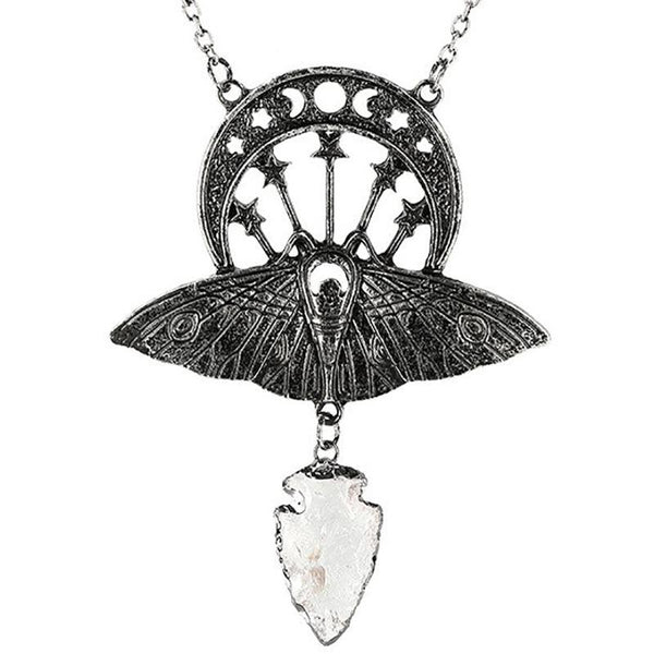 Moth Crystal Moon Necklace - Silver
