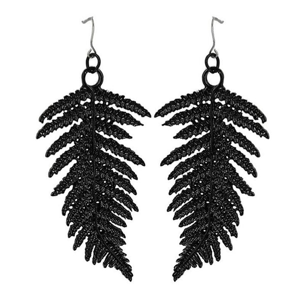 Floating Fern Earrings - Black