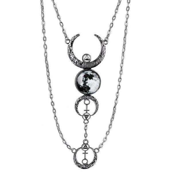 Moon Phase Maiden Necklace - Chrome