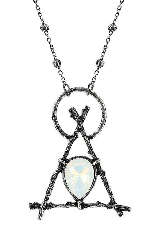 Delta Branched Necklace with Opal - Silver