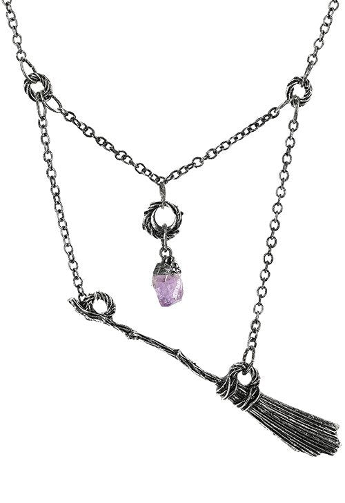 Flying Broom Necklace - Silver
