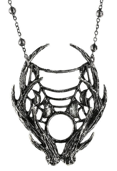 Moon Antlers Necklace - Silver