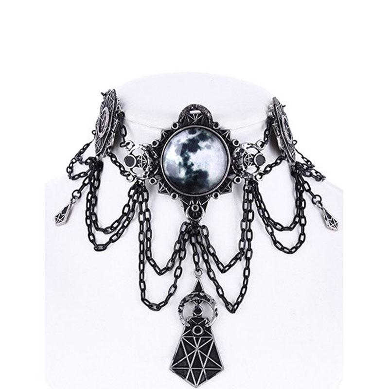 Moon Geo Chained Choker Necklace