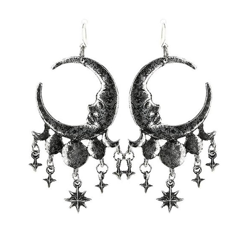Dripping Moons Earrings - Silver