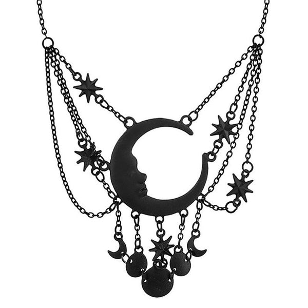Dripping Moon Necklace - Black
