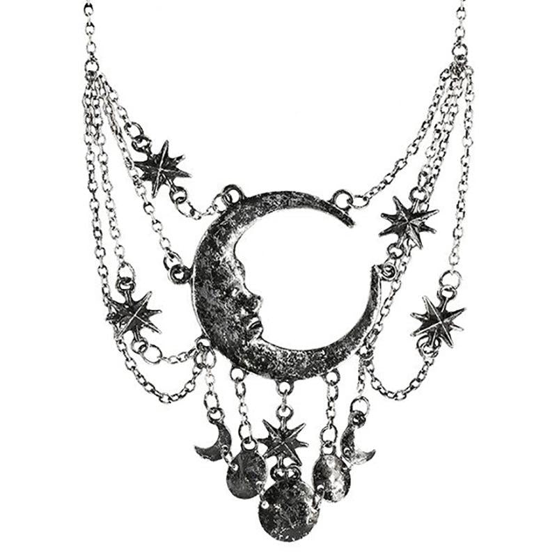 Dripping Moon Necklace - Silver