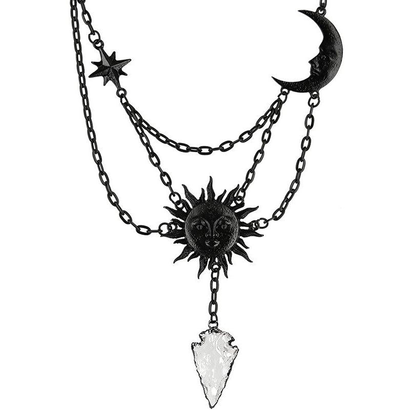 Sun & Moon Crystal Arrowhead Necklace - Black