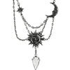 Sun & Moon Crystal Arrowhead Necklace - Silver