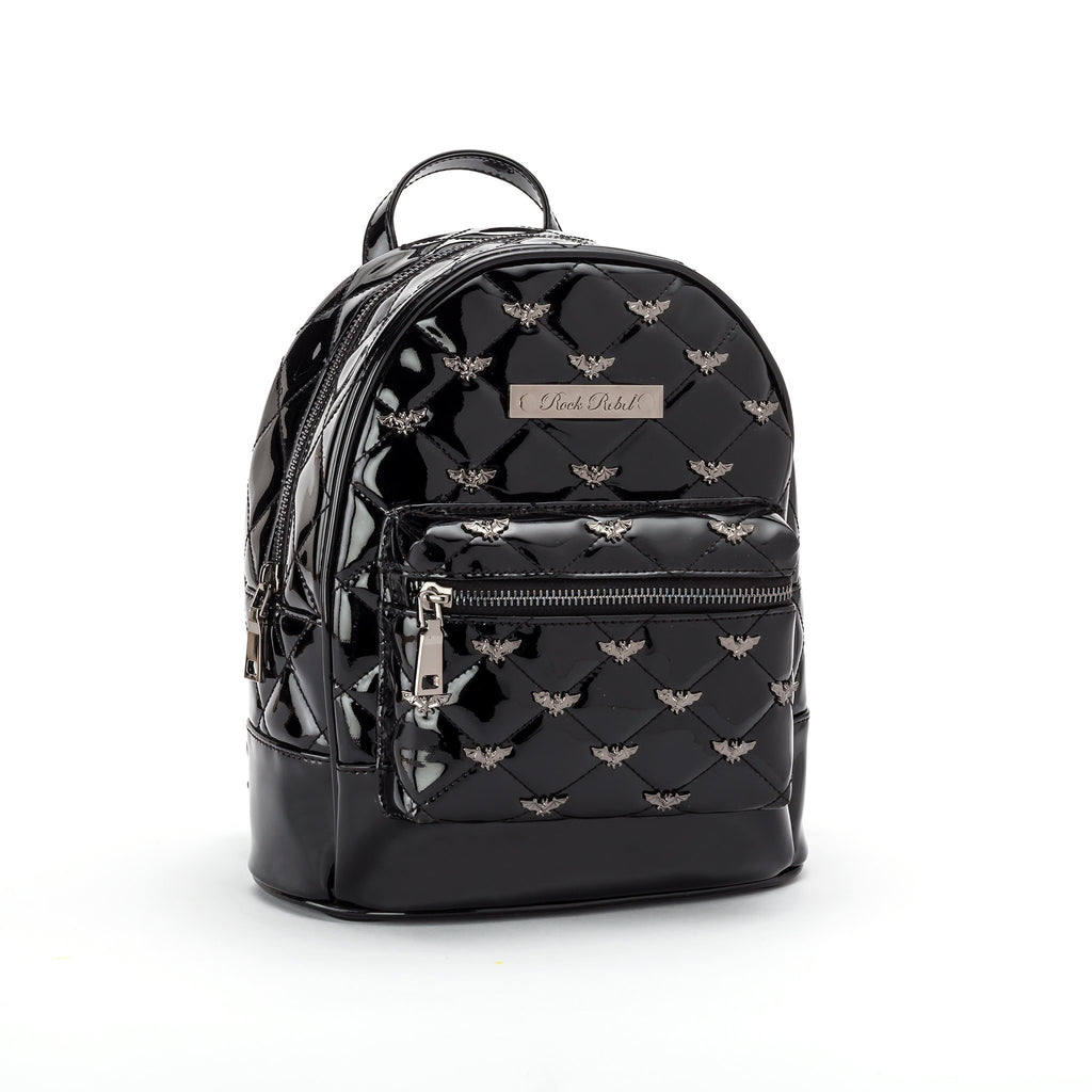 Black Glitter Bat Studded Backpack Purse (IN STOCK)