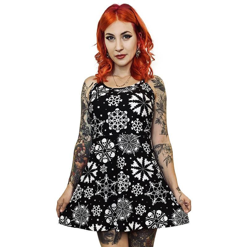 Spooky Snowflake Christmas Sweater Dress