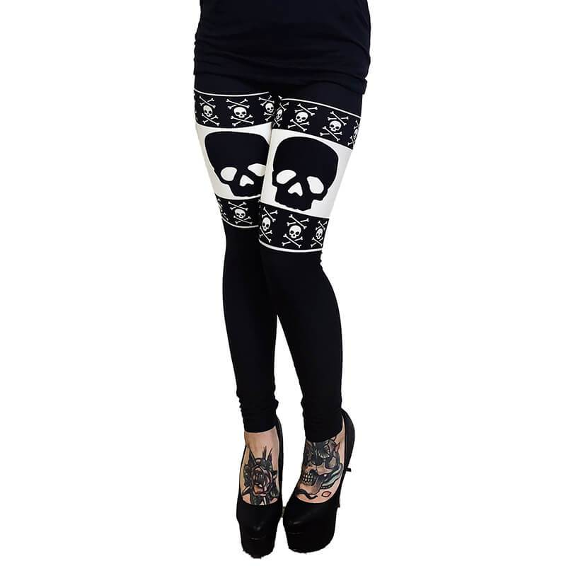 Thigh High Skull & Bones Christmas Sweater Leggings