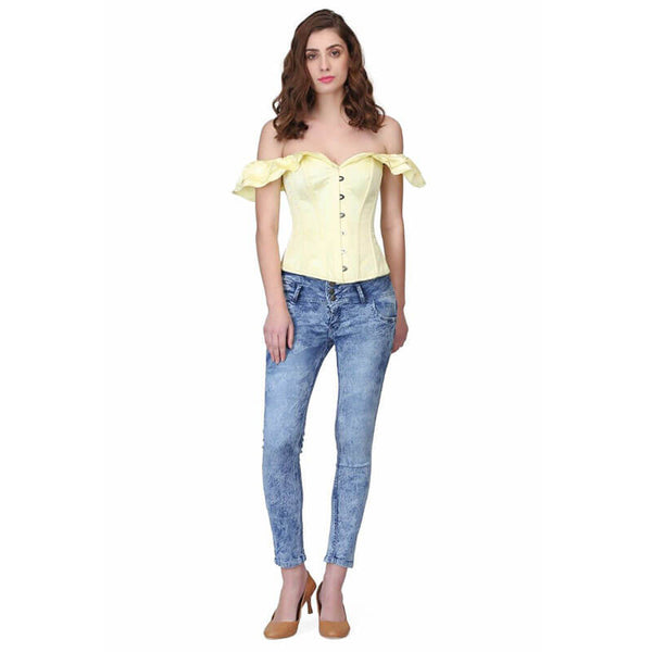 Overbust Frilled Corset Blouse - Yellow