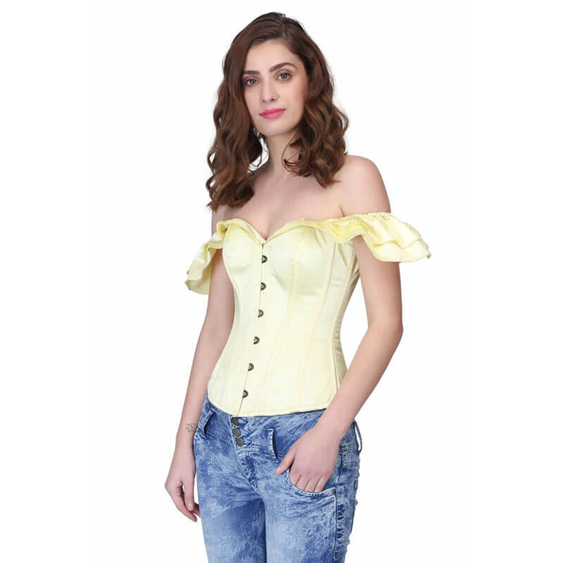 Overbust Frilled Sleeved Corset - Yellow